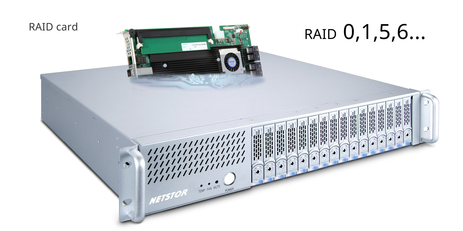 Netstor NA338TB3 support wide range RAID card.