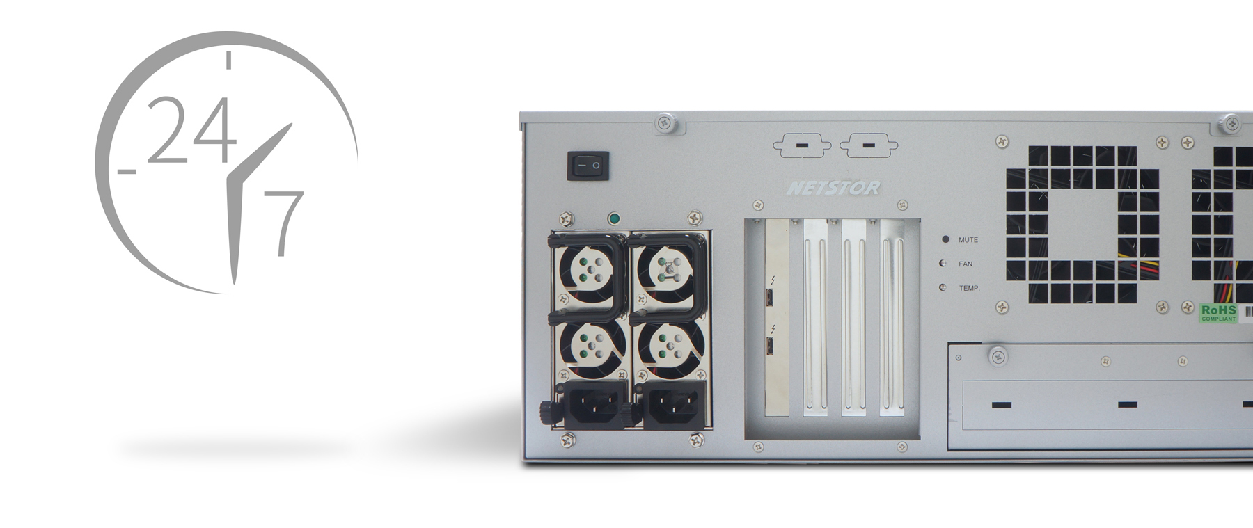 NA381TB3 will run 24/7 with no system downtime since the built-in server-grade 650W redundant PSU
